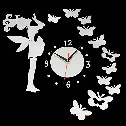 KINGSO DIY Unique Fairy Butterfly Acrylic Wall Sticker Clock Home