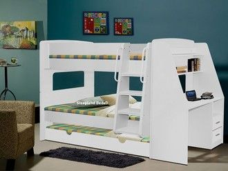 White Wooden Bunk Beds With Desk Bunk Beds Pinterest