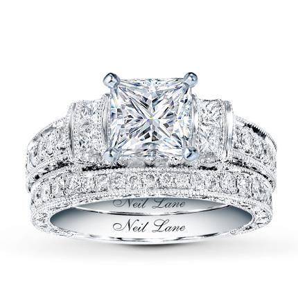 101 Carat J SI2 Very Good Cut Princess Diamond Plus Neil Lane Bridal Setting 1