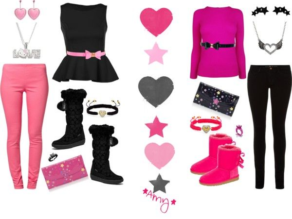 """""""Black & Pink...Bows, Hearts & Stars"""" by ahigg on Polyvore"""