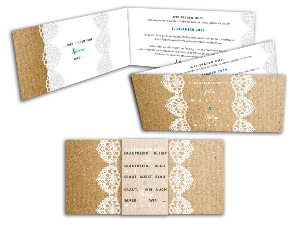 Exklusive Hochzeitskarten auf Leinenpapier mit Spitzenbordüre