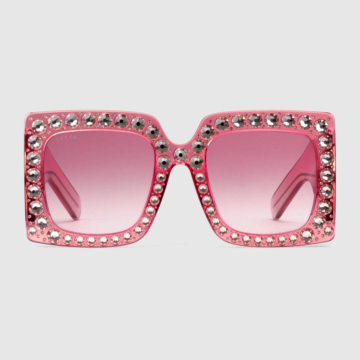 673b06db09 Oversize square-frame acetate sunglasses in Transparent pink acetate frame  with hand-applied crystals