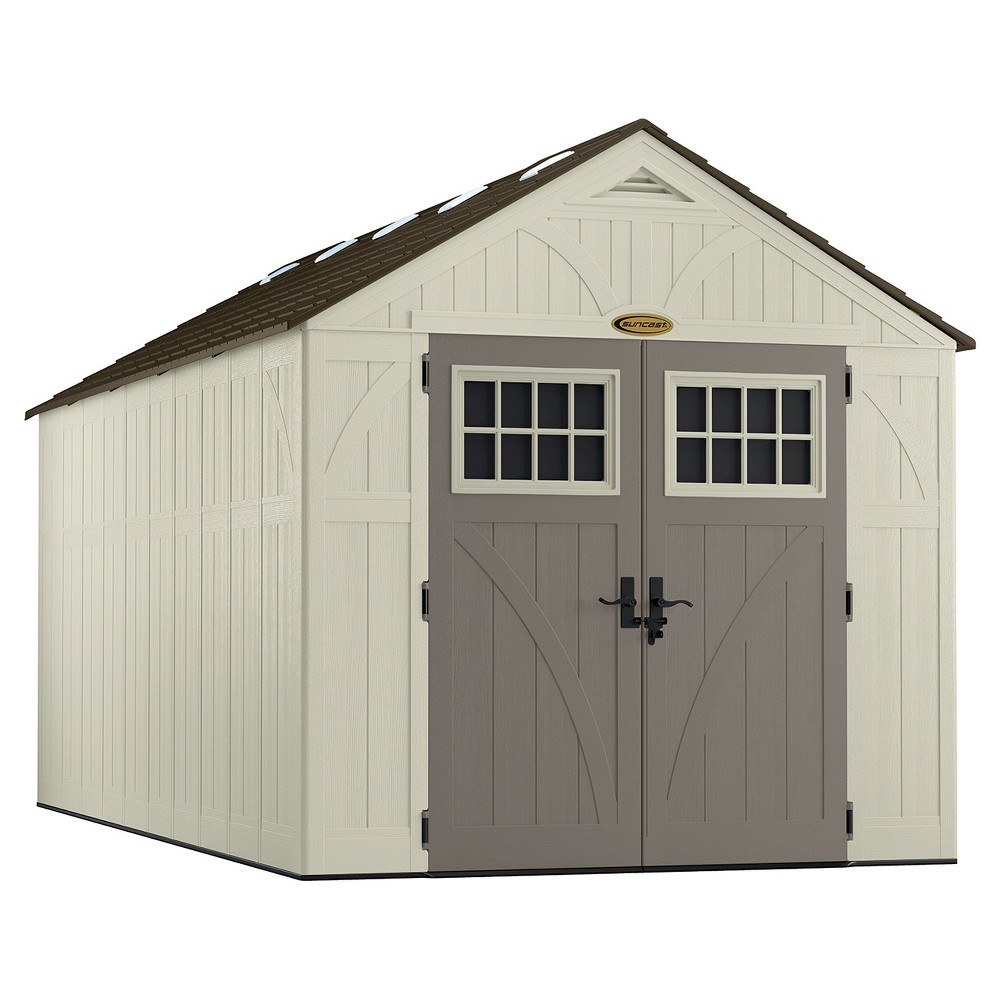 Resin Tremont Storage Shed 8 X1 6 Vanilla Gray Suncast Suncast Storage Shed Suncast Sheds Outdoor Storage Sheds