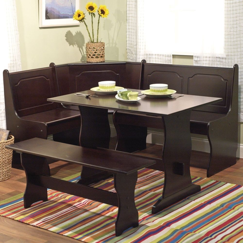 3 Pc Espresso Wooden Breakfast Nook Dining Set Corner Booth Bench