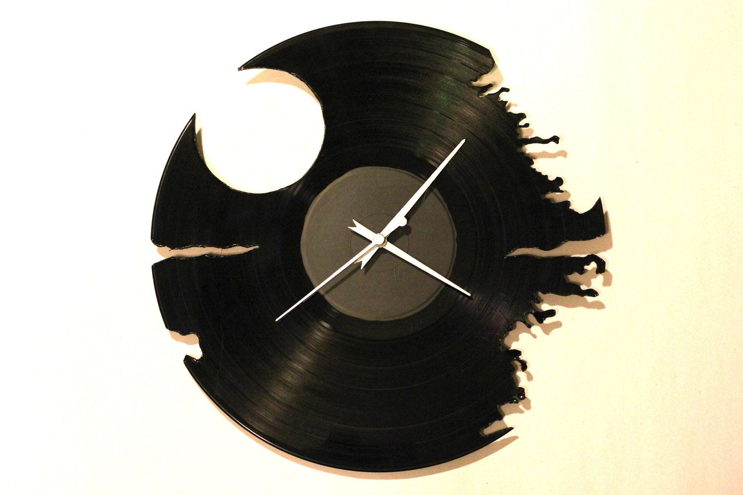recycled vinyl death star wall clock handmade and hand cut. Black Bedroom Furniture Sets. Home Design Ideas