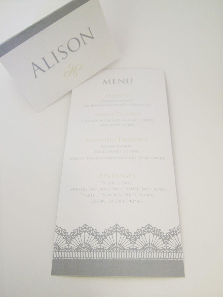 Duchess Lace- Menu and placecards- Lasercut http://www.classicweddinginvitations.com.au/duchess-lace-laser-cut-wedding-invitation/ - From $2.50