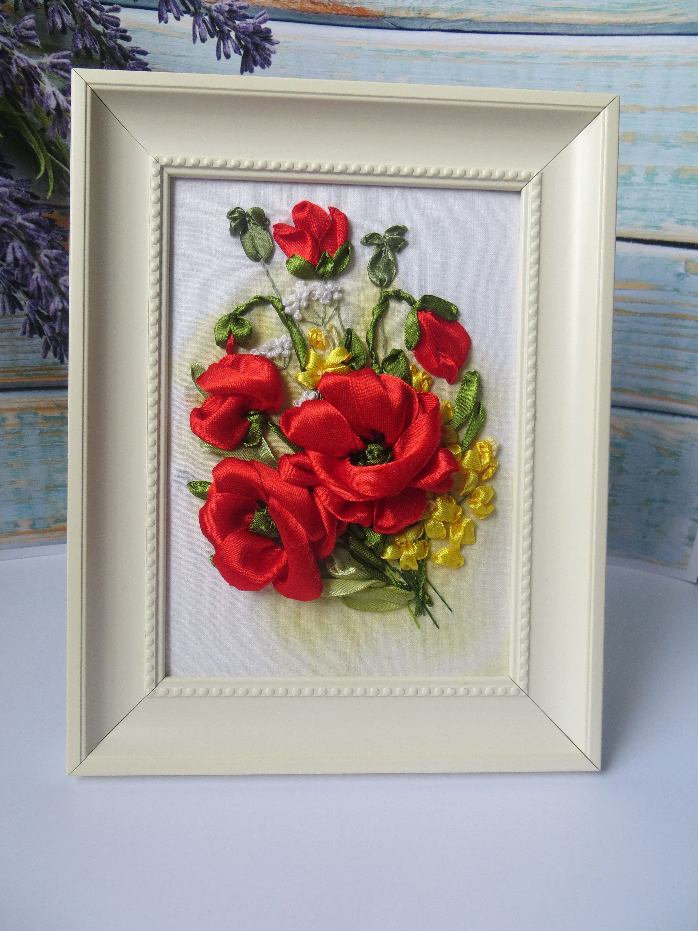 Ribbon Embroidery Art Framed Ribbon Embroidery Poppies Red Poppies Etsy Crafts Handmade Gifts Etsy Crafts Ribbon Embroidery