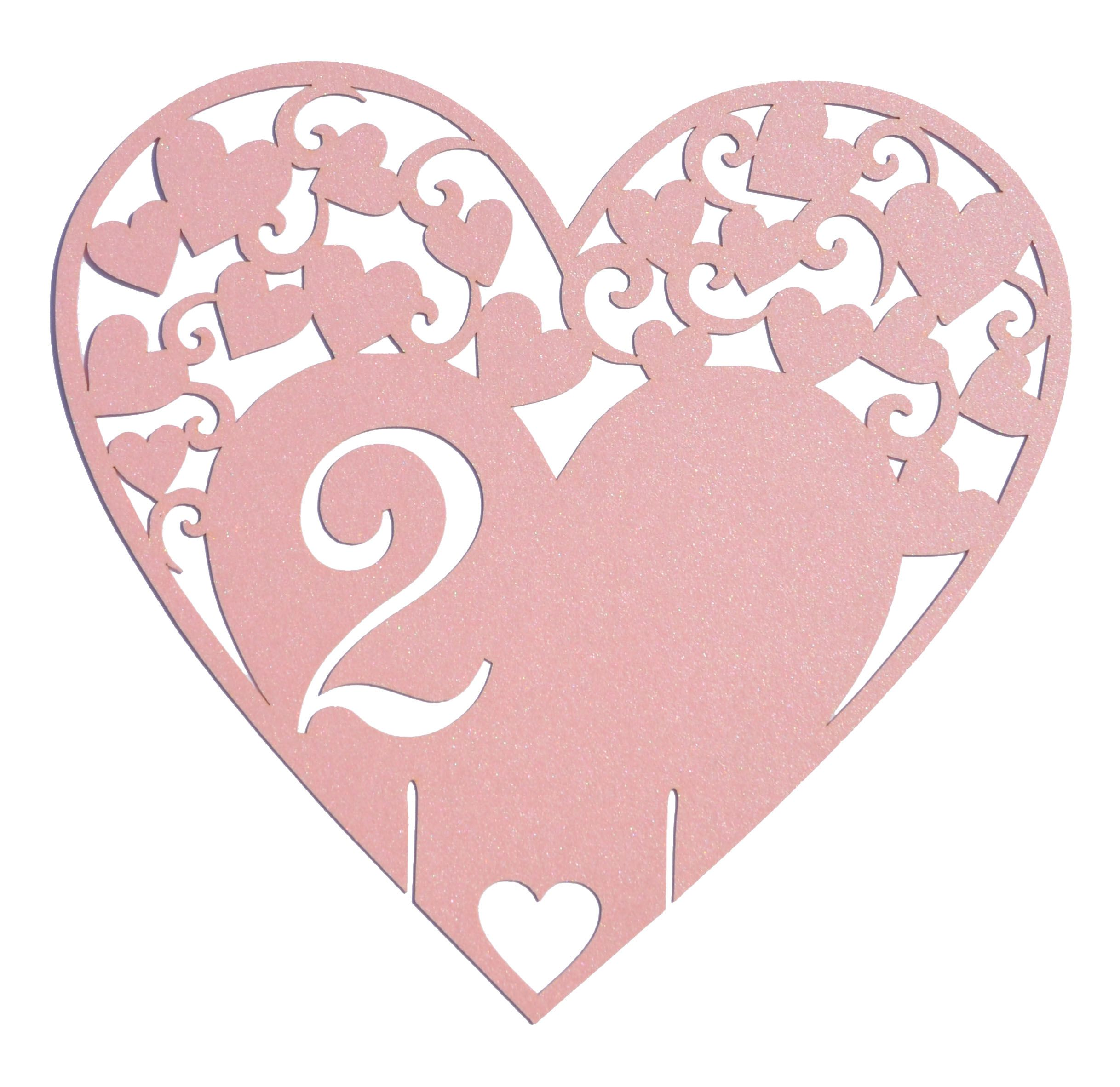 Cute lace laser cut heart wedding table number card from www.sew ...