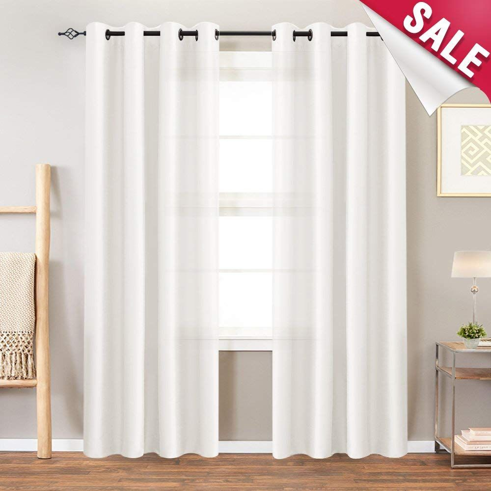 Amazon Com White Faux Silk Curtains Bedroom 63 Inches Long Grommet Top Dupioni Light Reducing Window C Faux Silk Curtains Curtains Window Curtains Living Room