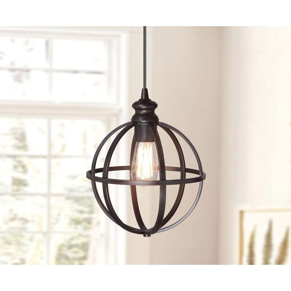 Worth Home Products 1-Light Brushed Bronze Instant Pendant