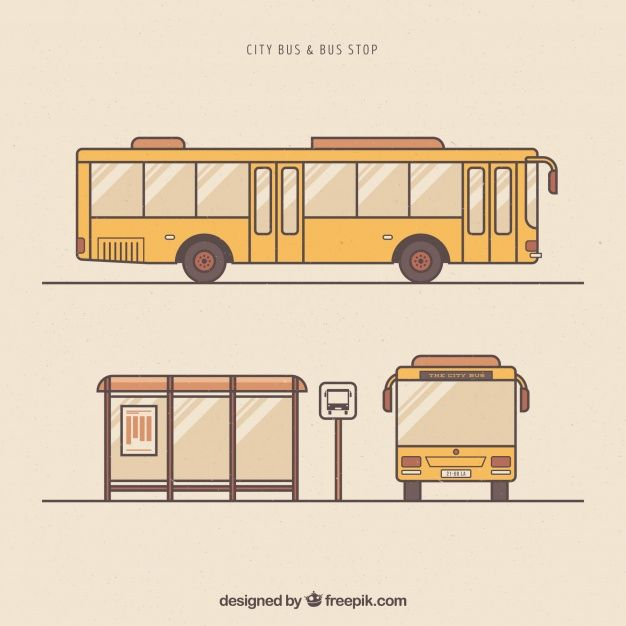 Download Hand Drawn Urban Bus And Bus Stop For Free Bus Stop