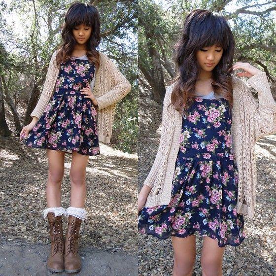 Forever 21 Garden Flower Overall Dress Forever 21 Knit