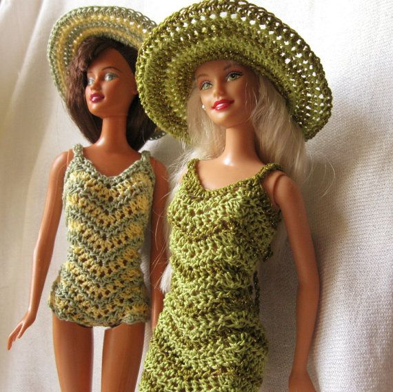 Barbie Doll crochet pattern- Chevron dress and swimsuit with wide ...