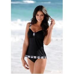 Photo of Large sizes: sunseeker tankini with printed contrasting panels, printed in black, size 40B Sunseeker