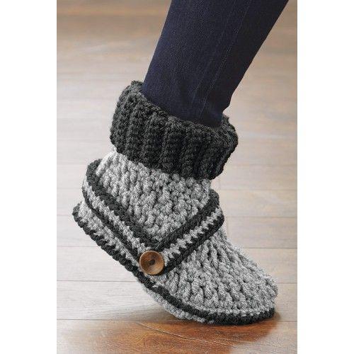 Mary Maxim - Cuffed Boot Slippers - Knit & Crochet