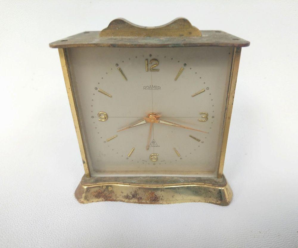 Vintage Roamer 8 Jewel 8 Day Brass Travel Alarm Clock Swiss Made