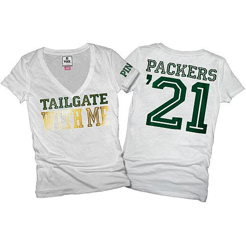 7ad43a8f Victoria's Secret PINK® Green Bay Packers Womens Basic V-Neck T ...