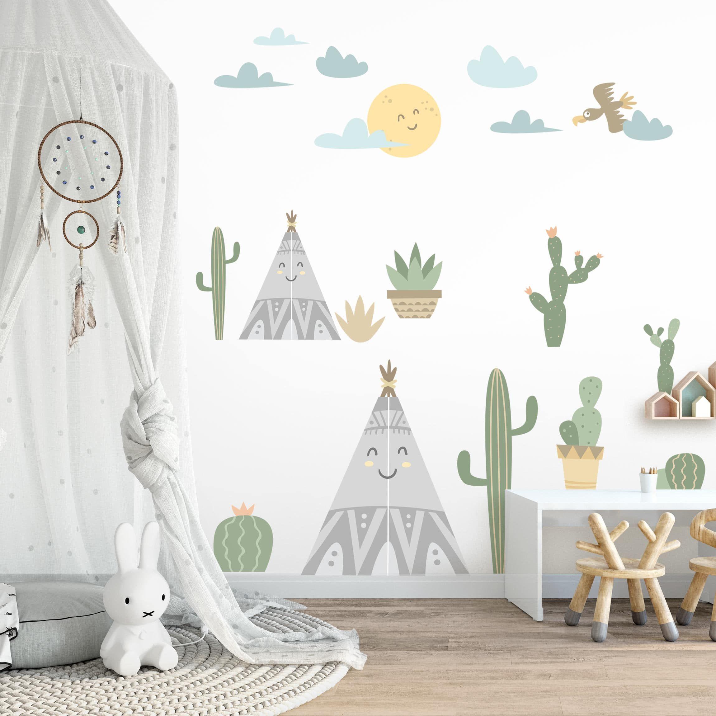 Stencil Adesivi Per Pareti Bambini.Adesivi Murali Bambini Cactus E Tende Indiane Stickers
