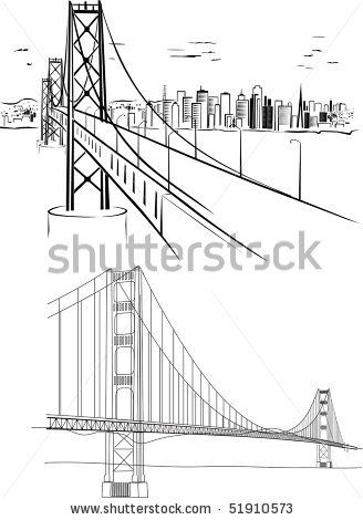 Stock Vector Golden Gate Bridge Hand Drawing Illustrations