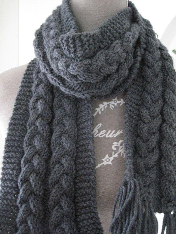 modele echarpe tricot torsade