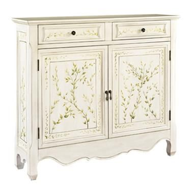 accents mdf solid wood white hand painted 2door console