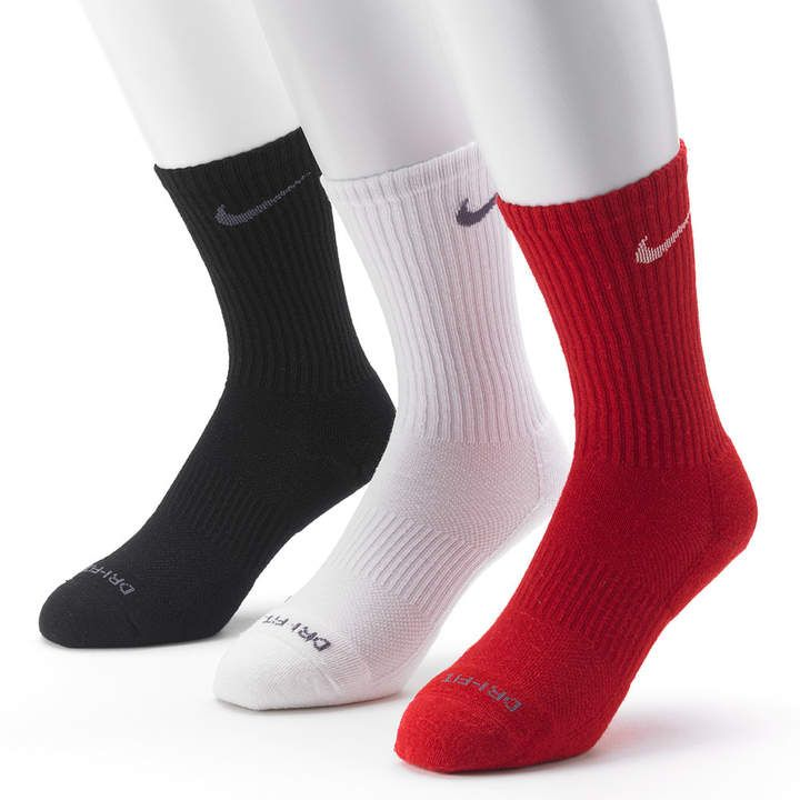 Mens nike 3pk drifit cushioned crew socks white nike