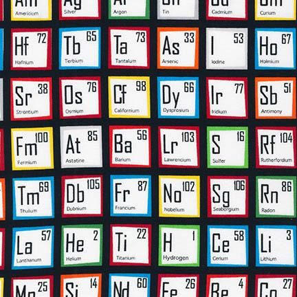 Color on black periodic table of elements cotton fabric robert color on black periodic table of elements cotton fabric robert kaufman science fair 1 yard urtaz Choice Image