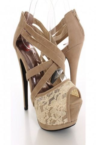 Nude Faux Suede Peep Toe Heels on Chiq