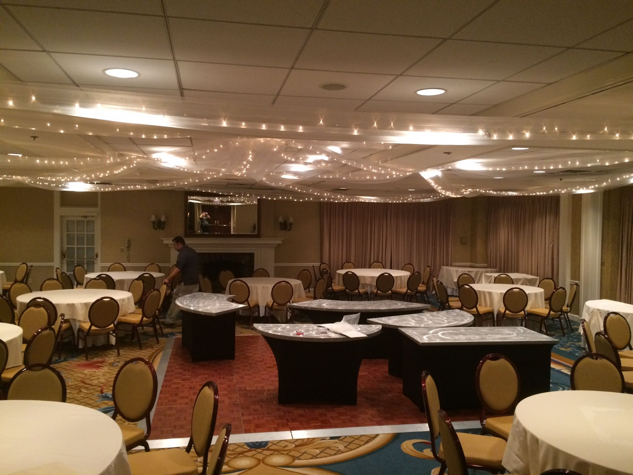Ceiling draping and lighting #ceilingdrapery #lighting # ...