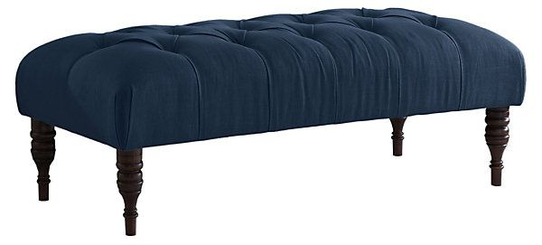 Stanton+Tufted+Bench,+Navy++Live+Comfortably++One+Kings+Lane