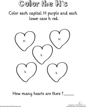 d546ee102c Learning the Letter H | Valentine Crafts | Alphabet worksheets ...