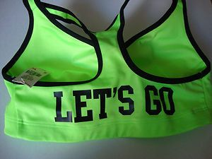 0bf3c22ebf Victoria s Secret M Sports Bra Love Pink Yoga Padded push up Let s Go neon  green