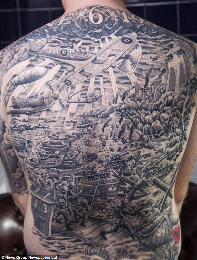 War Buff Has Huge Tattoo Of D-day Including Tanks And A