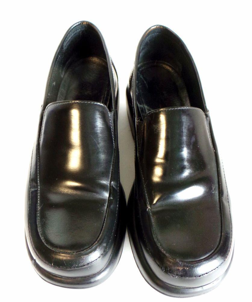 55a389ea73e Dansko sz 41 10 Slip On Shoes Platform Wedge Heel Punk Loafers Black Leather   Dansko  LoafersMoccasins  Casual