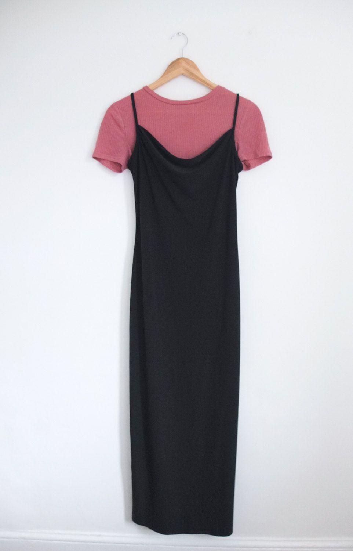7b2d8c6bc9b Vintage 90s Topshop Black Cowl Neck Strappy Grunge Slinky Midi Slip Dress  Size 12 by WilderPeople on Etsy