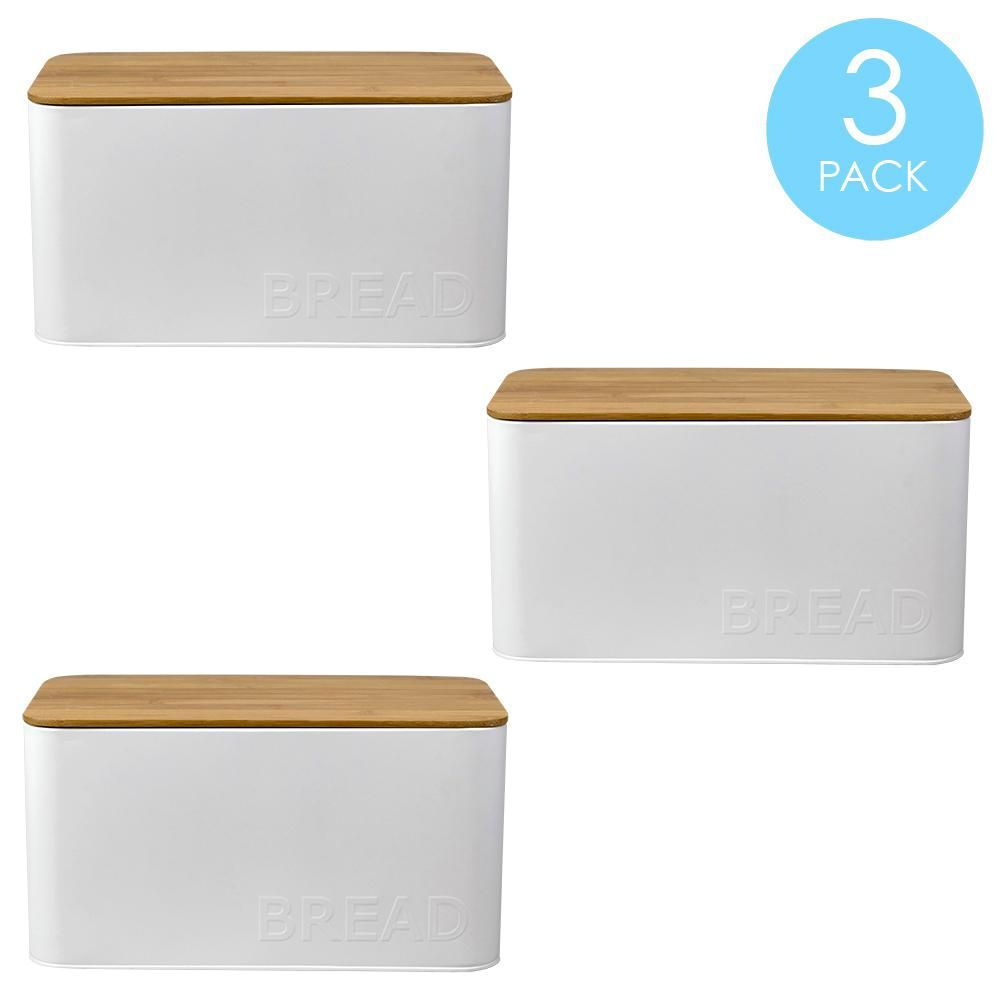 Tin Bread Box With Bamboo Top White 3 Pack Hdc65284 3pack In 2020 Tin Containers Bread Boxes Tin