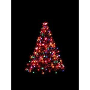 Indoor Outdoor Pre Lit Incandescent Artificial Christmas Tree With Green Frame And 200 Multi Color Lights