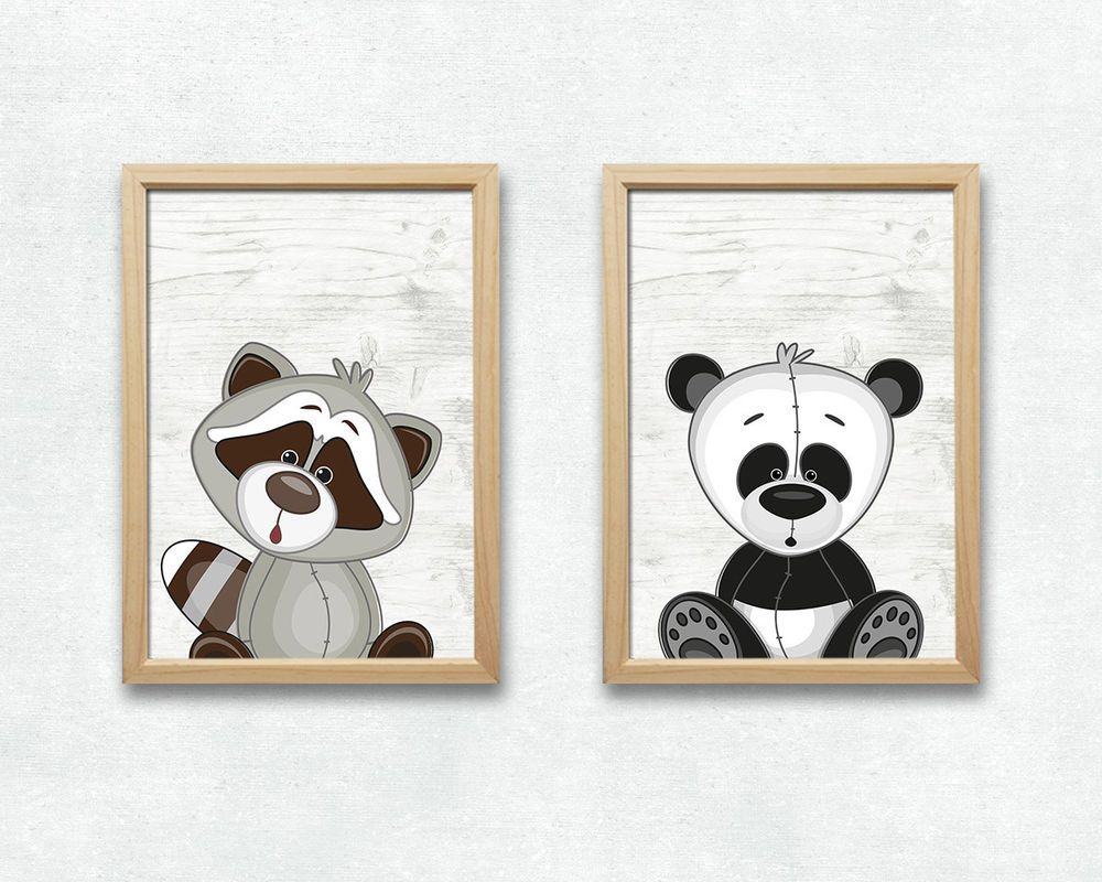 Details zu Panda und Waschbär Bild Set Tiere Druck A4 Poster ...