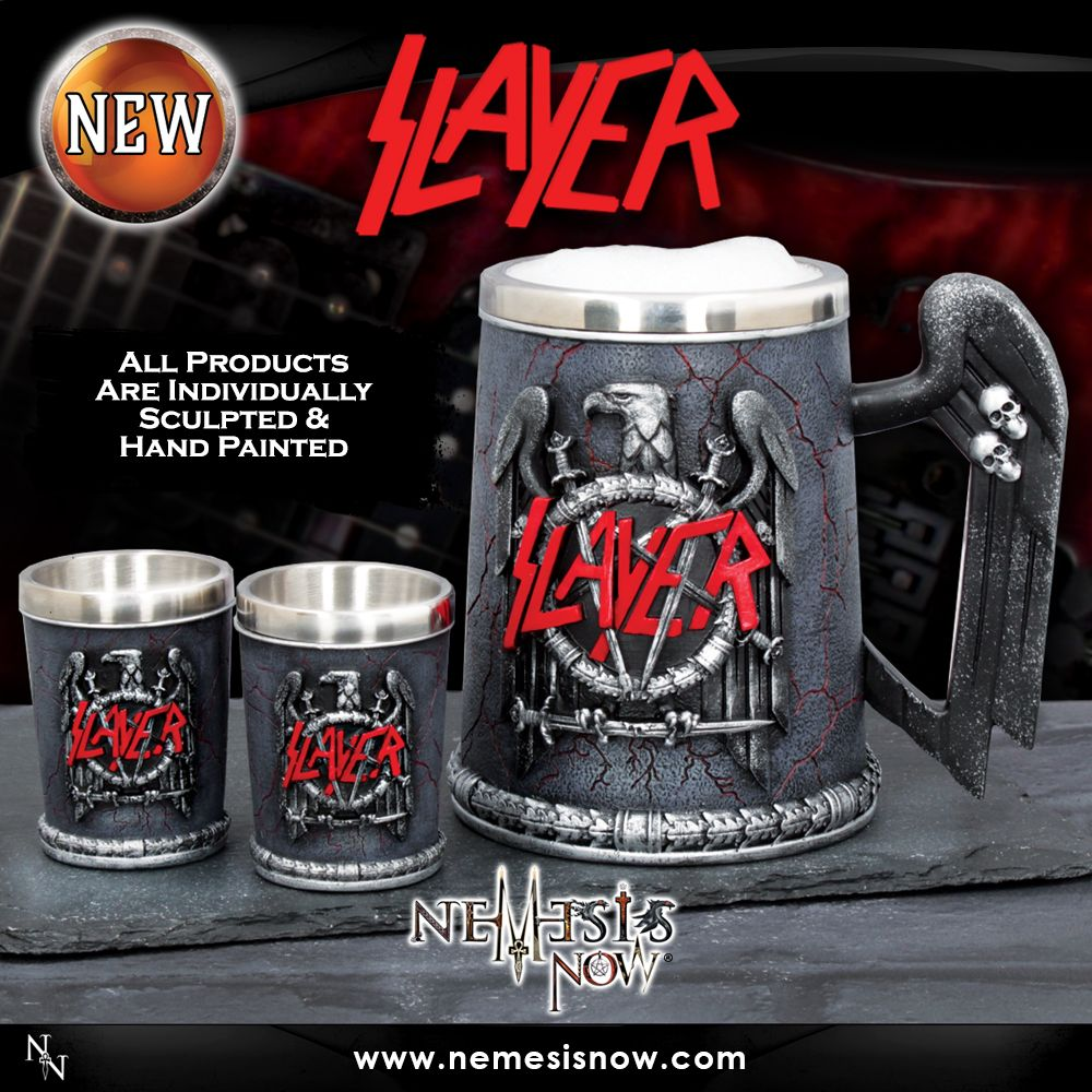 Pay Homage To The Thrash Metal Gods With This Officially Licensed Slayer Tankard And Shot Glass Exclusive To Nemesis Now Cast Slayer Tankard Band Merchandise