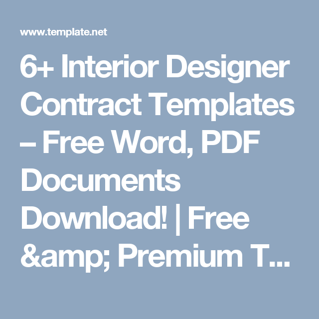 Interior Designer Contract Templates  Free Word Pdf Documents