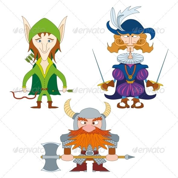 Fantasy Heroes, Set  #GraphicRiver         Fantasy brave heroes: elf archer, count fencer and dwarf warrior, funny comic cartoon characters set.   Vector EPS 8 plus AI CS 5 plus high-quality Jpeg. Editable vector file, containing only vector shapes. No gradients. No transparencies.     Created: 30July13 GraphicsFilesIncluded: JPGImage #VectorEPS #AIIllustrator Layered: No MinimumAdobeCSVersion: CS5