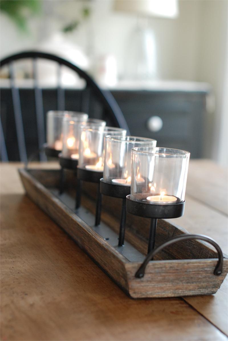 Rustic Wood Centerpiece Votive Holder Kitchen Table Or