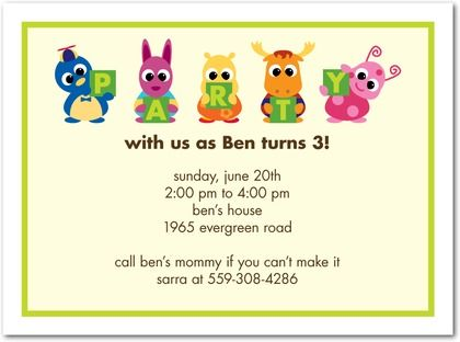 Birthday Party Invitations - The Backyardigans Party Pals  Yogurt - best of invitation card party wording