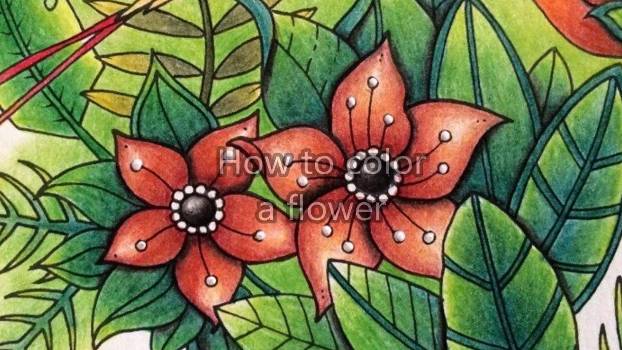 How to color a flower from the Magical Jugnle coloring book ...