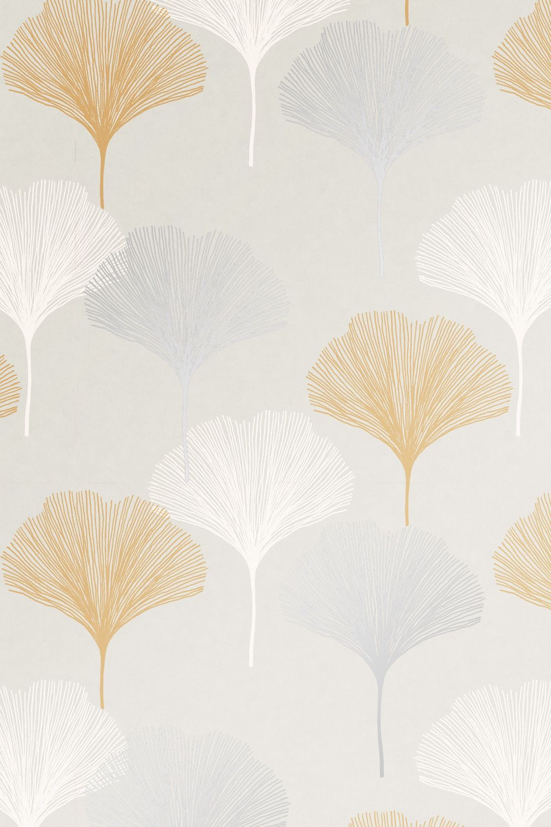 I LOVE WALLPAPER Gingko Leaf Wallpaper Grey Yellow. Keep