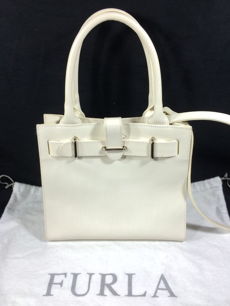 Furla Genuine Leather Handbag Purse Cross Body Made In Italy White