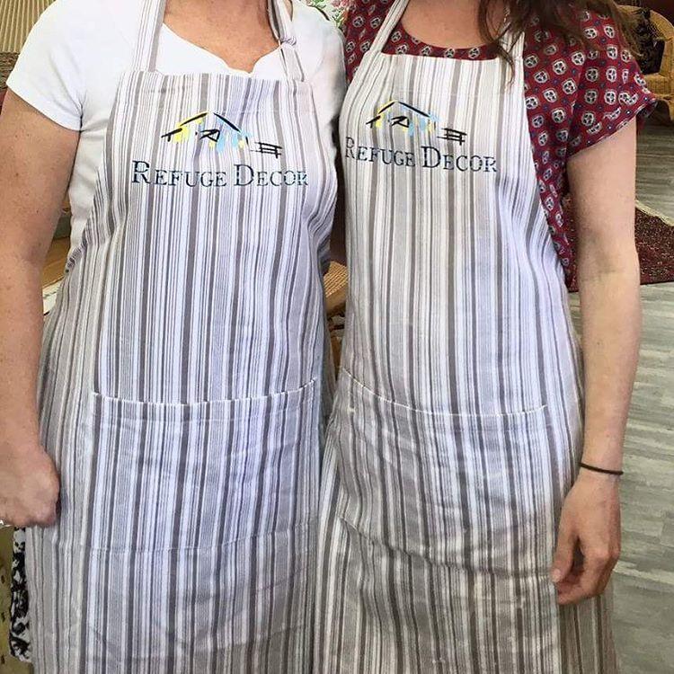 Customized aprons.. #byDusty #apron #aprons #heatpressvinyl #heatpress #stripes #companylogo