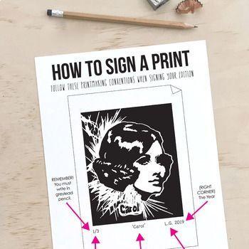 Printmaking Conventions - How to Sign a Print Poster (A3) - #conventions #poster #print #Printmaking - #Printmaking