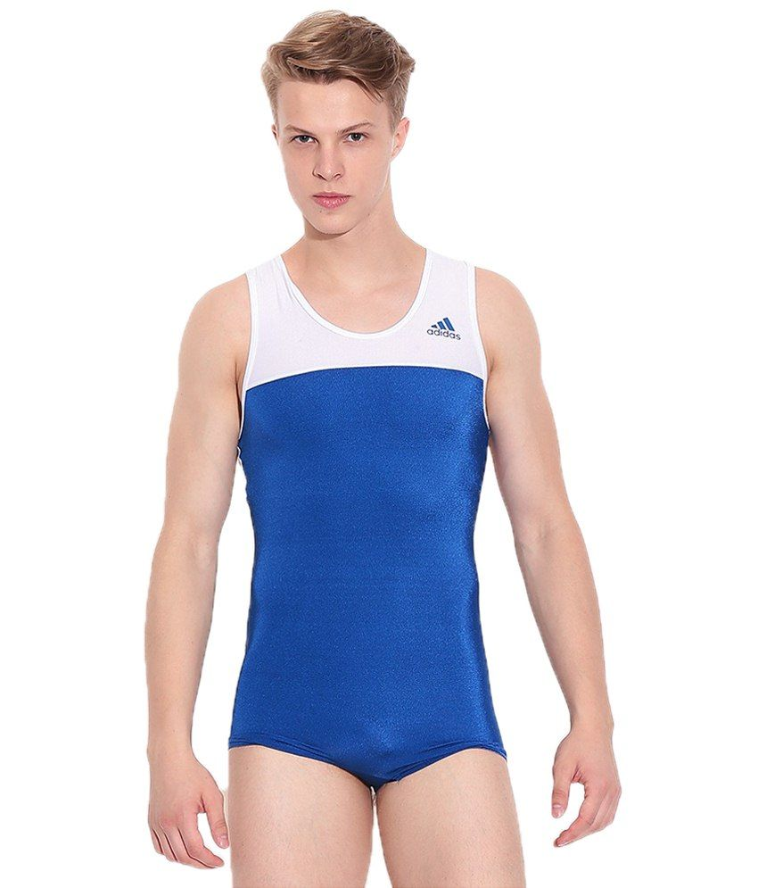 Adidas White & Blue Gymnastics Leotard For Men