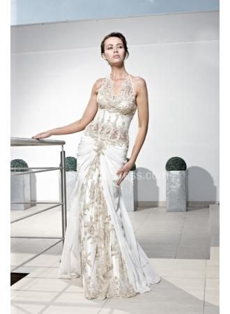 $199 - Sexy Halter Lace Evening Dresses 2015 Mermaid Applique Prom Gowns - www.suzhoudress.com